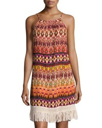 Band Of Gypsies Tribal Print Fringe Trim Dress Orange Pattern
