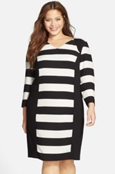 Carmakoma 'Auburn' Stripe Colorblock Dress Multi