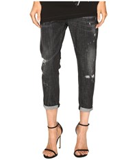 Dsquared Cool Girl Cropped Jeans In Sparkle Wash Black Women's Jeans