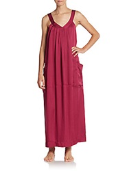 Donna Karan Sleepwear Laundered Satin Long Gown Ruby