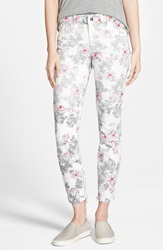 Standards Practices Floral Print Skinny Jeans White