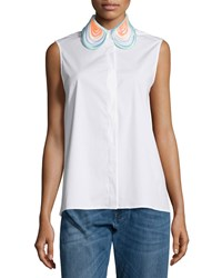 Christopher Kane Sleeveless Embroidered Collar Blouse White Women's