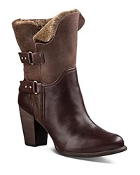 Ugg Jayne Leather And Sheepskin Mid Calf Booties Stout