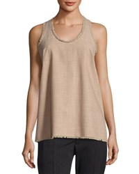 Brunello Cucinelli Tropical Wool Fringed Trim Sleeveless Top Light Brown