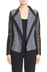 St. John Women's Collection 'Modero' Leather Trim Knit Moto Jacket Caviar Marine Multi