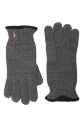 Polo Ralph Lauren Men's Classic Merino Wool Gloves Black Charcoal