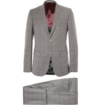 Gucci Grey Monaco Slim Fit Checked Wool Suit Gray
