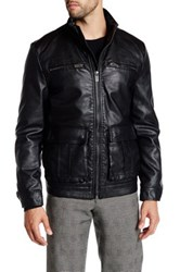 Kenneth Cole Faux Leather Zip Jacket Black