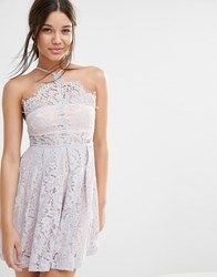 Missguided Strappy Lace Skater Dress Lilac Purple