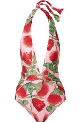 Adriana Degreas Fiore Twist Front Floral Print Halterneck Swimsuit Antique Rose
