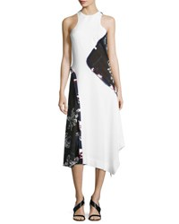Cedric Charlier High Neck Asymmetric Floral Print Dress White