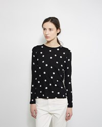 Proenza Schouler Long Sleeve Printed Tissue Tee Black And White Dot