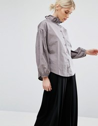 Zacro Blouse With Ruffle Collar And Statement Sleeve Grey