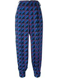 Marni Rhythm Print Tapered Trousers Blue