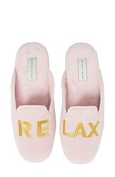 Patricia Green Relax Embroidered Mule Slipper Pink Fabric
