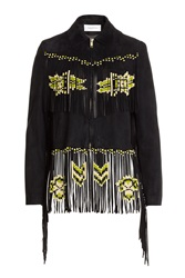 Valentino Fringed Suede Jacket Black