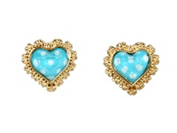Betsey Johnson Sea Excursion Polka Dot Heart Studs Turquoise Earring Blue