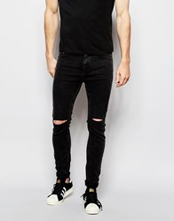 Pull And Bear Pullandbear Super Skinny Jeans With Rips In Acid Wash Black Black