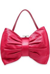 Red V Bow Detailed Leather Tote Fuchsia