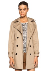 Saint Laurent Gabardine Babydoll Poly Blend Trench In Neutrals