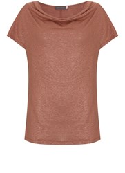 Mint Velvet Copper Cowl Neck Shimmer Tee Orange