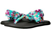 Sanuk Yoga Sling 2 Prints Peacock Waikiki Floral Women's Sandals Blue