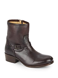 Frye Lynn Leather Mid Calf Boots Dark Brown