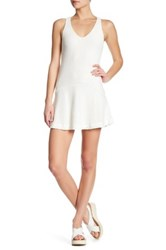 David Lerner Peplum Sleeveless Dress White