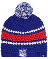 47 Brand '47 Women's New York Rangers Leslie Pom Knit Hat Royalblue Red