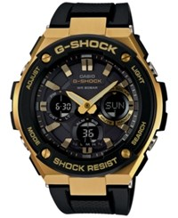 G Shock Women's Analog Digital Black And Gold Black Silicone Strap Watch 59X52 Gsts100g 1A