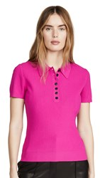 Jason Wu Short Sleeve Knitted Polo Shirt Hibiscus