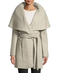 T Tahari Marla Wool Blend Tweed Wrap Coat Beige