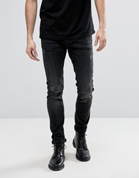 Allsaints Jeans In Skinny Fit Black With Distressing Black