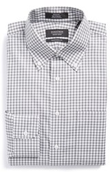 Men's Big And Tall Nordstrom Non Iron Traditional Fit Gingham Dress Shirt Grey Castlerock