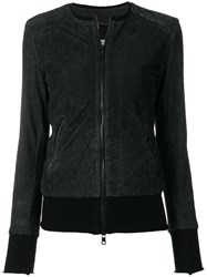 Giorgio Brato Collarless Bomber Jacket Black