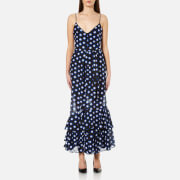 Boutique Moschino Women's Dotted Strappy Maxi Dress Blue