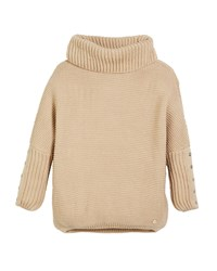 Mayoral Chunky Turtleneck Knit Pullover Sweater Beige