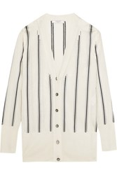 Lanvin Striped Knitted Cardigan Ivory