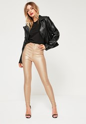 Missguided Gold High Waisted Coated Skinny Jeans