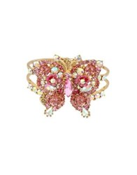 Betsey Johnson Floral Crystal Butterfly Hinged Bangle Bracelet Pink