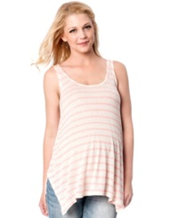 Wendy Bellissimo Maternity Striped Tank Top Green White Stripe
