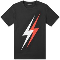 Neil Barrett Large 3D Lightning Bolt Tee Black