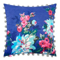 Joules Chevening Cushion With Trim Detailing 45X45cm Deep Blue Floral