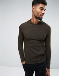 Asos Lightweight Muscle Fit Hoodie In Khaki Hunter Green