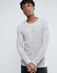 Selected Homme 100 Cotton Crew Neck Texture Knitted Jumper Marshmellow Grey