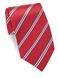 Saks Fifth Avenue Regimental Stripe Silk Tie Red