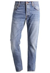 Nudie Jeans Dude Dan Straight Leg Orange Soul Light Blue Denim
