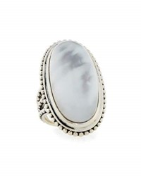 Stephen Dweck Crystal Quartz And Mother Of Pearl Long Oval Ring Size 7