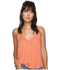 Free People Bb Embellished Cami Top Coral Women's Clothing