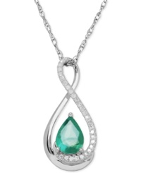 Macy's Emerald 5 8 Ct. T.W. And Diamond Accent Infinity Pendant Necklace In Sterling Silver